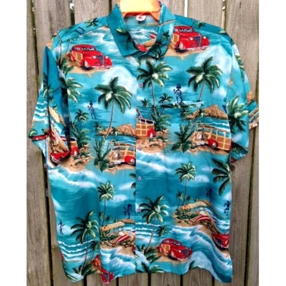 ecce6060 Mens Hawaiian Island Aloha Casual Beach Shirt L. M_5a6b663c00450fb7fecb3d48